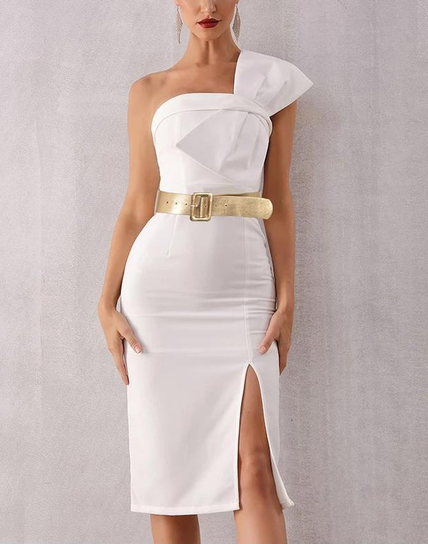 Elegant Large Bow White Dress - MaestosoRosso_Fashion_Store