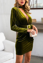 Olive Green Velvet Midi Dress - MaestosoRosso_Fashion_Store