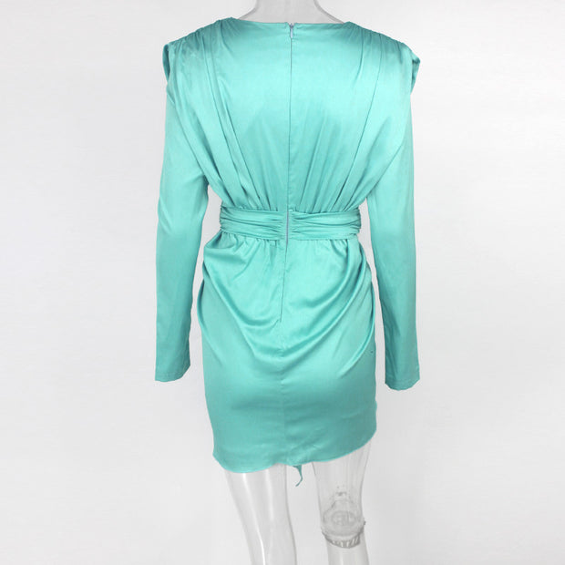 Satin Feel Midi Dress - MaestosoRosso_Fashion_Store