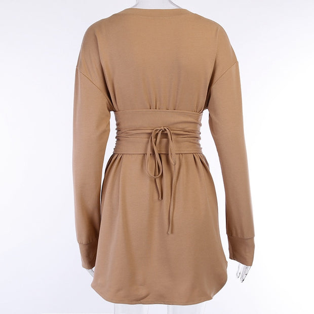 Corset Mini Loose Dress - MaestosoRosso_Fashion_Store
