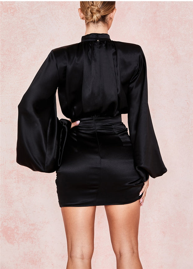 Black Satin Long Sleeve Dress - MaestosoRosso_Fashion_Store