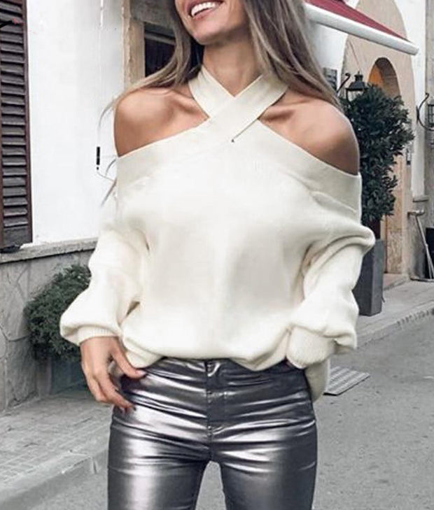 Casual X-Neck Line Sweater Top - MaestosoRosso_Fashion_Store