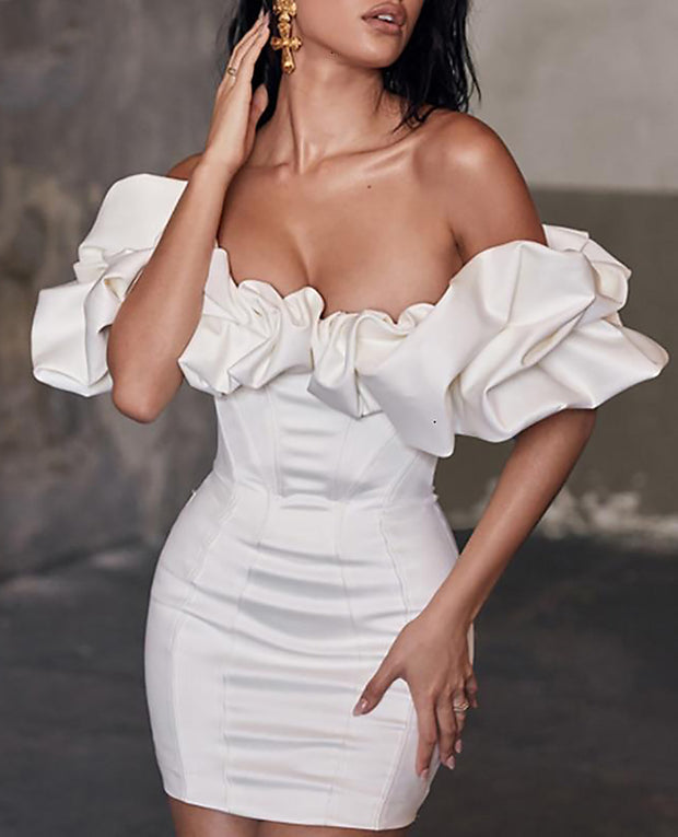 Satin Ruffles Neckline Party Dress - MaestosoRosso_Fashion_Store
