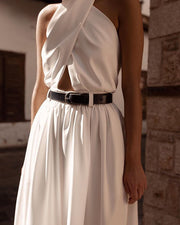 White Loose Backless Jumpsuit - MaestosoRosso_Fashion_Store