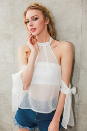 Halter Off Shoulder Transparent  Blouse - MaestosoRosso_Fashion_Store