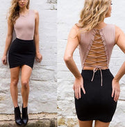 Backless Lace Up Bodysuit - MaestosoRosso_Fashion_Store