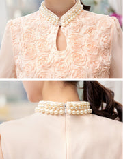 Japanese Origami Rose Delicate Blouse - MaestosoRosso_Fashion_Store