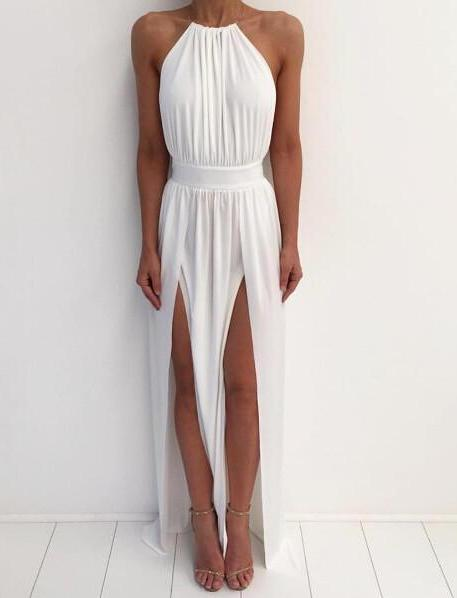 Off Shoulder Greek Goddess Chiffon Dress - MaestosoRosso_Fashion_Store
