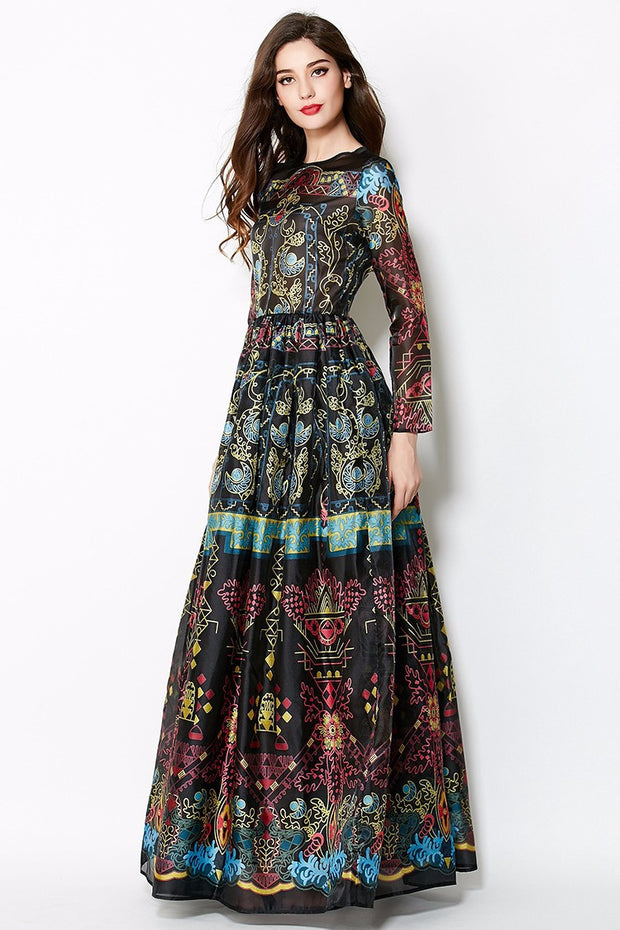 Vintage Bohemian Print Maxi Dress - MaestosoRosso_Fashion_Store