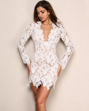 Long Sleeve Flower Lace Mini Dress - MaestosoRosso_Fashion_Store