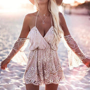Crystal Embroidered Playsuit - MaestosoRosso_Fashion_Store
