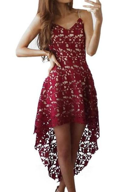 Backless Asymmetrical Lace Dress - MaestosoRosso_Fashion_Store