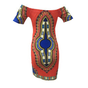 Traditional African Print Short Sleeve Dress - MaestosoRosso_Fashion_Store
