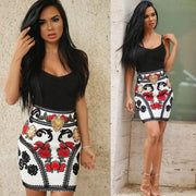 Floral Skirt Black Top Pencil Dress - MaestosoRosso_Fashion_Store
