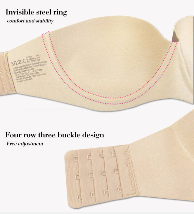 1/2 Cup Strapless Bra - MaestosoRosso_Fashion_Store