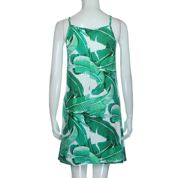 Palm Leaf Print Cotton Dress - MaestosoRosso_Fashion_Store