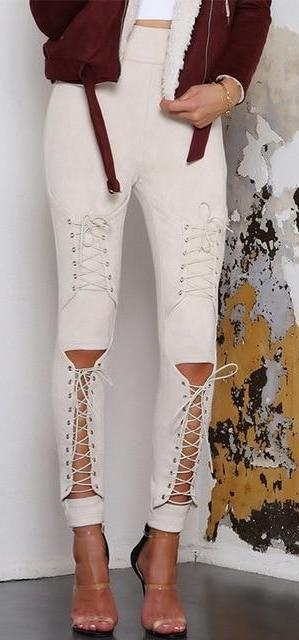Lace Up Suede Pants - MaestosoRosso_Fashion_Store