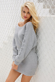 Batwing Sleeved Knitted Sweater Dress - MaestosoRosso_Fashion_Store