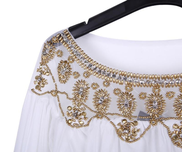 Gold Embroidered Light White Dress - MaestosoRosso_Fashion_Store