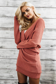 V-Neck Cross Knitting Sweater Dress - MaestosoRosso_Fashion_Store