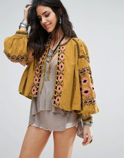 Boho Floral Embroidered Blouse - MaestosoRosso_Fashion_Store