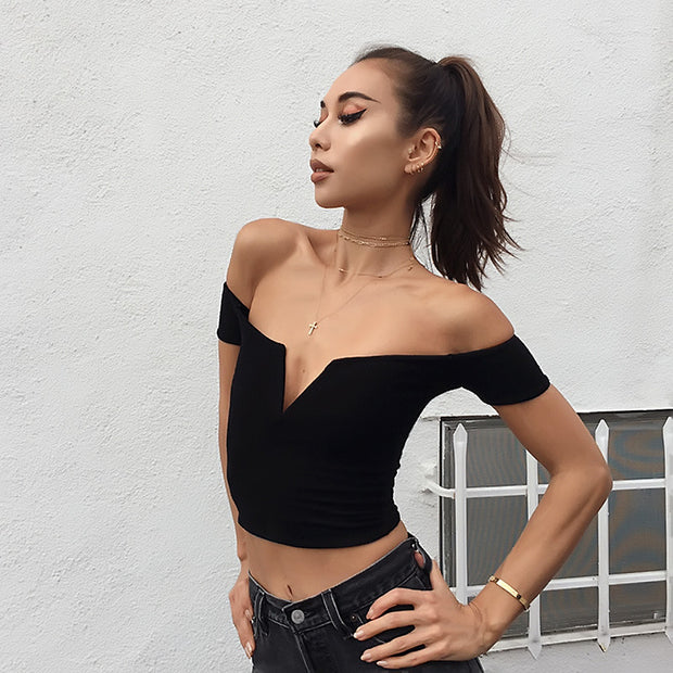 Cold Shoulder Sexy Fitted Top - MaestosoRosso_Fashion_Store