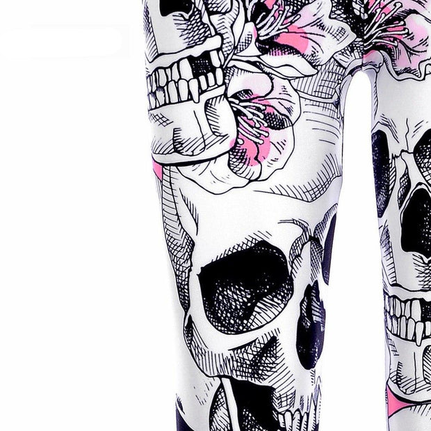 Skull Flower Print Leggings - MaestosoRosso_Fashion_Store