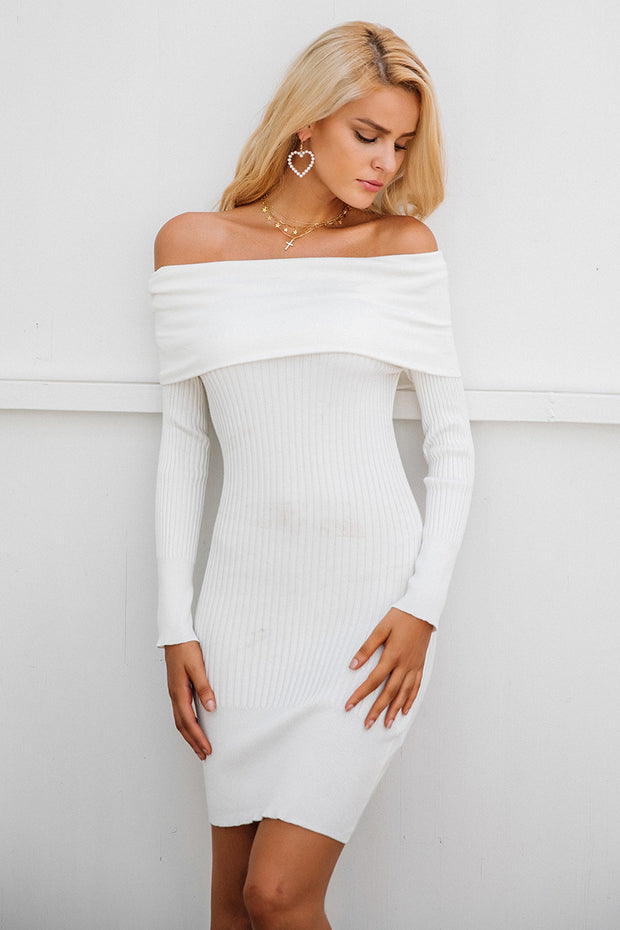 Off Shoulder Knitting Sweater Dress - MaestosoRosso_Fashion_Store