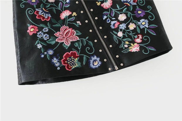 Floral Embroidered Faux Leather Mini Skirt - MaestosoRosso_Fashion_Store