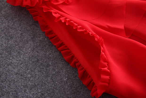 Vintage Red Chiffon Ruffle Dress - MaestosoRosso_Fashion_Store