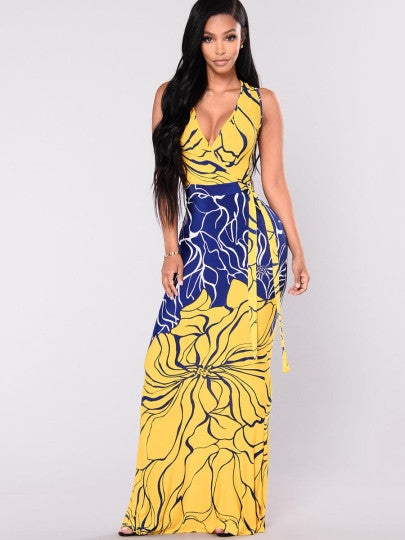 Floral A-line Maxi Dress - MaestosoRosso_Fashion_Store
