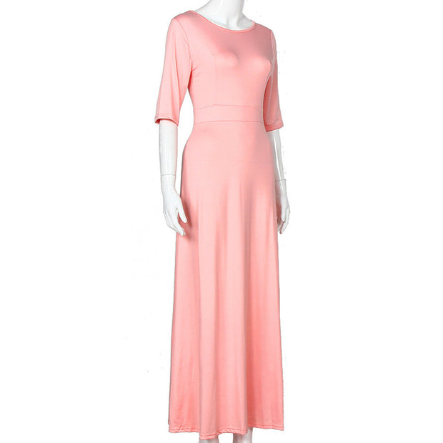 Pink High Waist Maxi Gown - MaestosoRosso_Fashion_Store