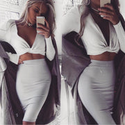 Sexy Deep V-Neck Cross Slim Crop Top - MaestosoRosso_Fashion_Store