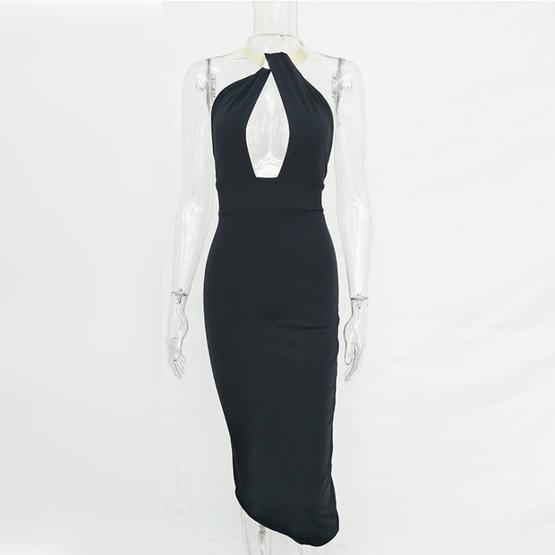 Metal Neck-Piece Sexy Bandage Dress - MaestosoRosso_Fashion_Store