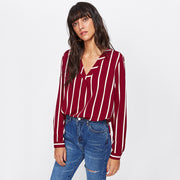Red Striped V-neck Work Shirt - MaestosoRosso_Fashion_Store