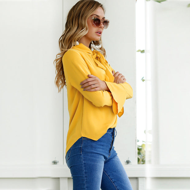 Long Flare Sleeve Blouse - MaestosoRosso_Fashion_Store