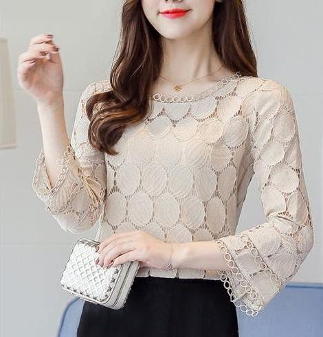 Hollow Out Lace Flare Sleeves Blouses - MaestosoRosso_Fashion_Store