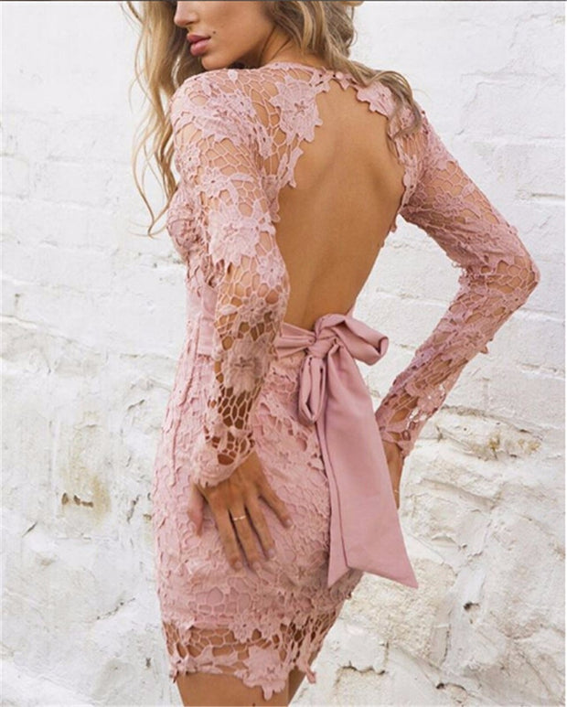 Backless Deep V-Neck Lace Mini Dress - MaestosoRosso_Fashion_Store