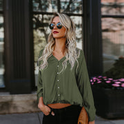 Loose Blouse With Gathered Waist and Long Sleeve - MaestosoRosso_Fashion_Store