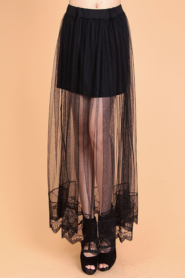 Transparent Layer Maxi Skirt - MaestosoRosso_Fashion_Store