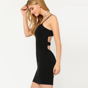 Black Cutout Back Mini Dress - MaestosoRosso_Fashion_Store
