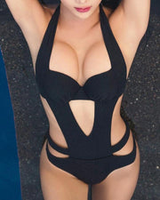 Black Halter Cut Bandage Swimsuit - MaestosoRosso_Fashion_Store