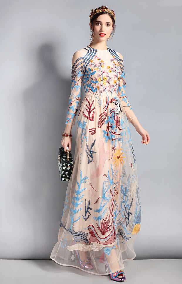 Tulle Mesh Floral Embroidery Maxi Dress - MaestosoRosso_Fashion_Store