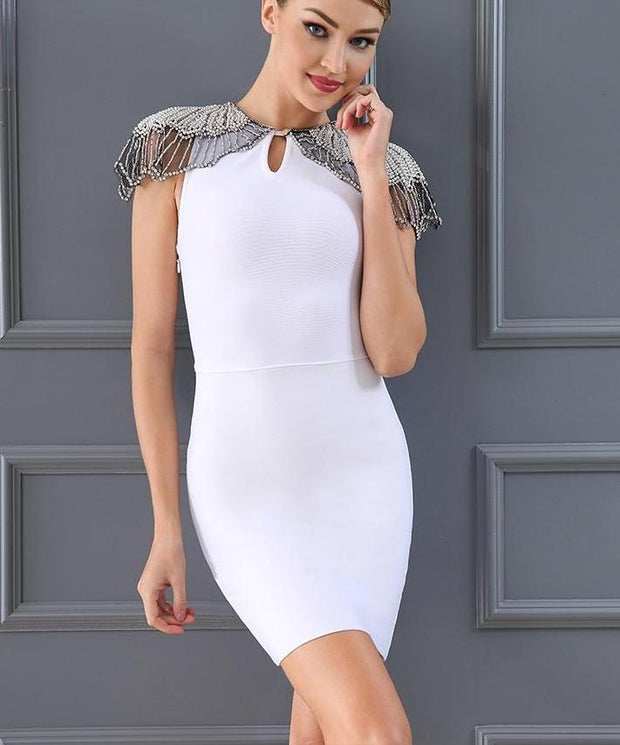 Epaulet Pearls Bodycon Dress - MaestosoRosso_Fashion_Store