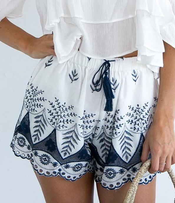 Blue & White Embroidered Wide Shorts - MaestosoRosso_Fashion_Store