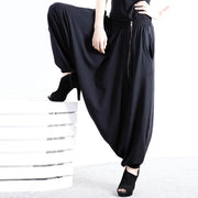 Low-Crotch Black Harem Pants - MaestosoRosso_Fashion_Store