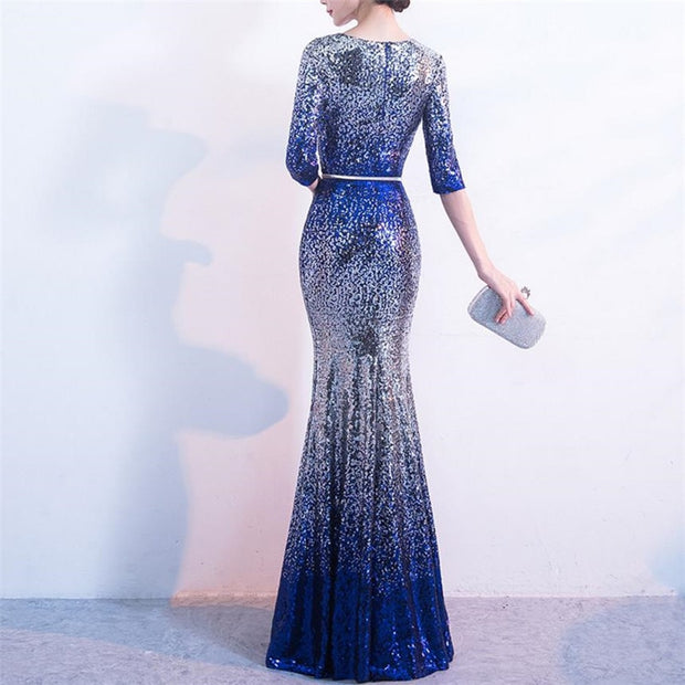 3/4 Sleeve Sequin Evening Gown - MaestosoRosso_Fashion_Store