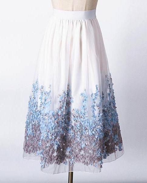 Organza Appliques Floral Skirt - MaestosoRosso_Fashion_Store