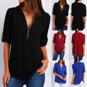 Casual Mid-sleeve Blouse - MaestosoRosso_Fashion_Store