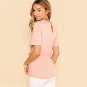 Pink Self Belt Back Blouse - MaestosoRosso_Fashion_Store